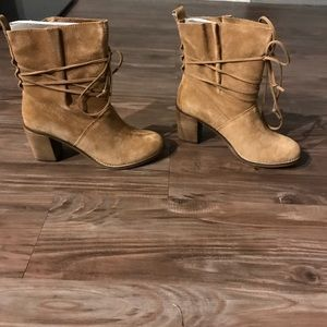 Tom tan suede strap ankle boots